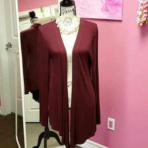 NWOT 🧡🖤 Zenana Outfitters Wine Colour Cardigan Top